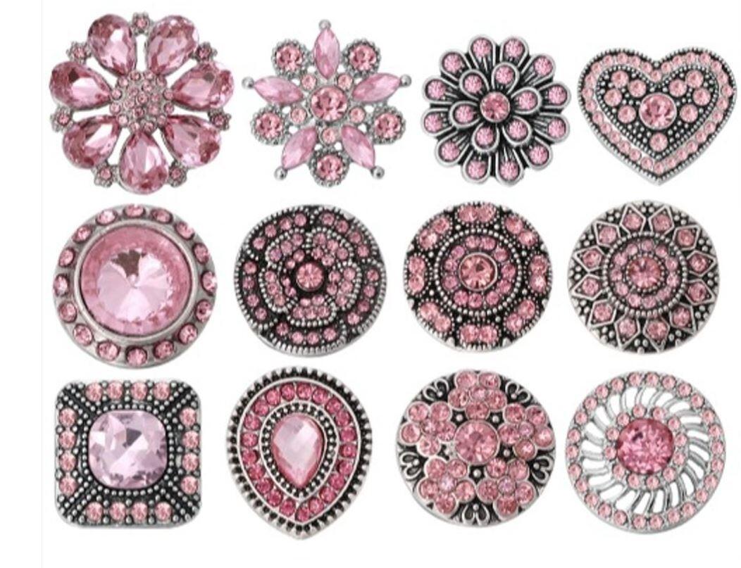 Pink Rhinestone Snap