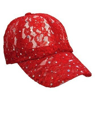 Lacey Glitter Cap - Red