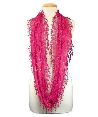 Lacey Infinity Scarf - Hot Pink
