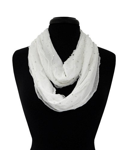 Giltter Ribbon Infinity Scarf - White