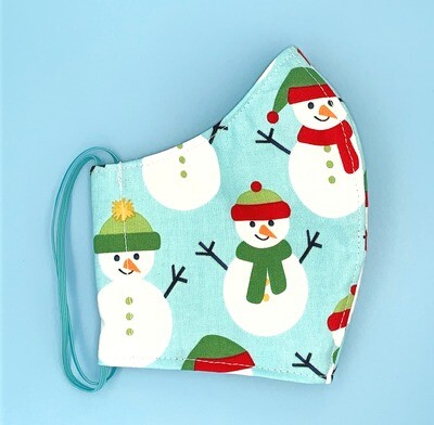 Teenager/Ladies' Big Snowmen on Aqua Christmas Fitted Mask