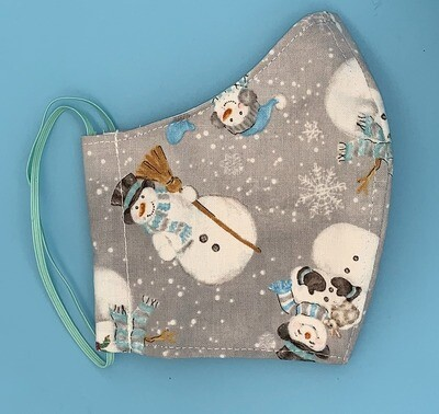 Teenager/Ladies' Tossed Snowmen on Grey Christmas Fitted Mask