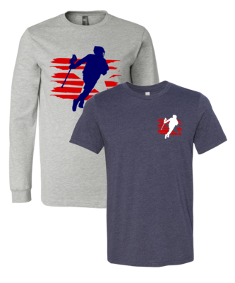 Lacrosse Player Silhouette - Patriotic 1