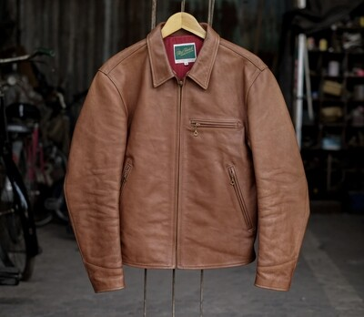 The Flat Head Horsehide Riders Jacket - Brown Small 38
