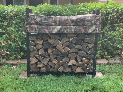 1/4 Cord Camo 4ft Firewood Rack with Cover