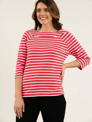 Rosehip Red Striped Top