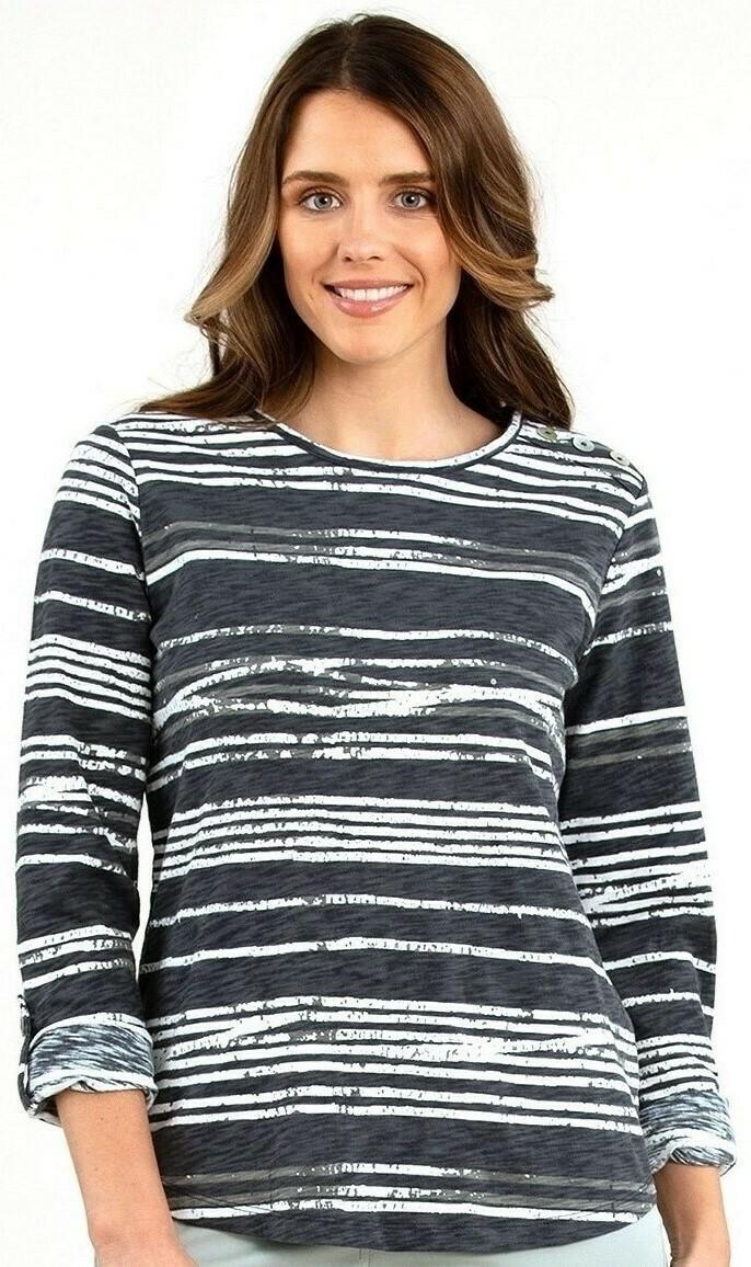 Grey/White Stripe Knit Top