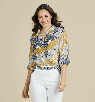 Gold & Navy Print Shirt