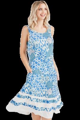 Blue/Teal/White Midi Dress