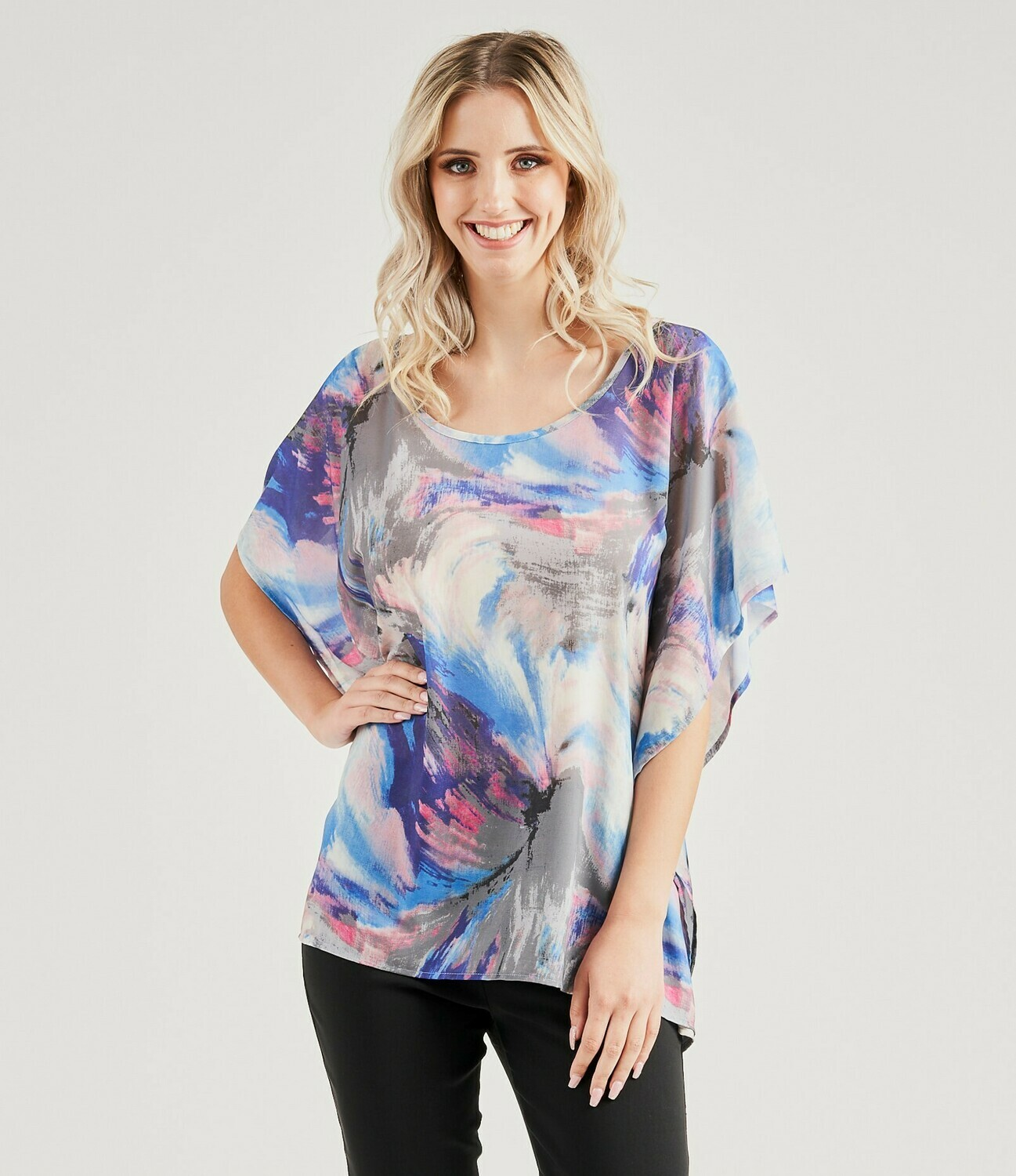 Multi-Coloured Soft Draping Top