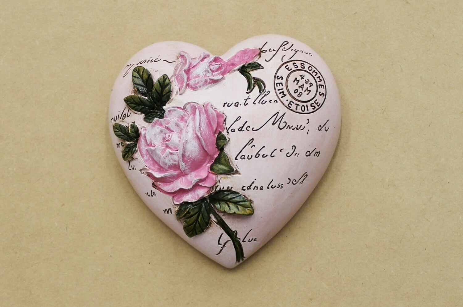 Pink Rose Hanging Wall Heart