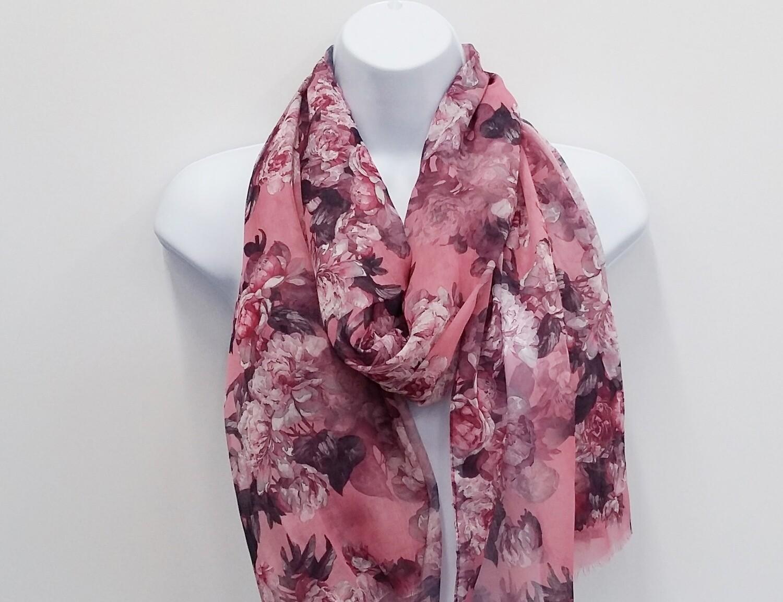 Rose Pink Floral Scarf