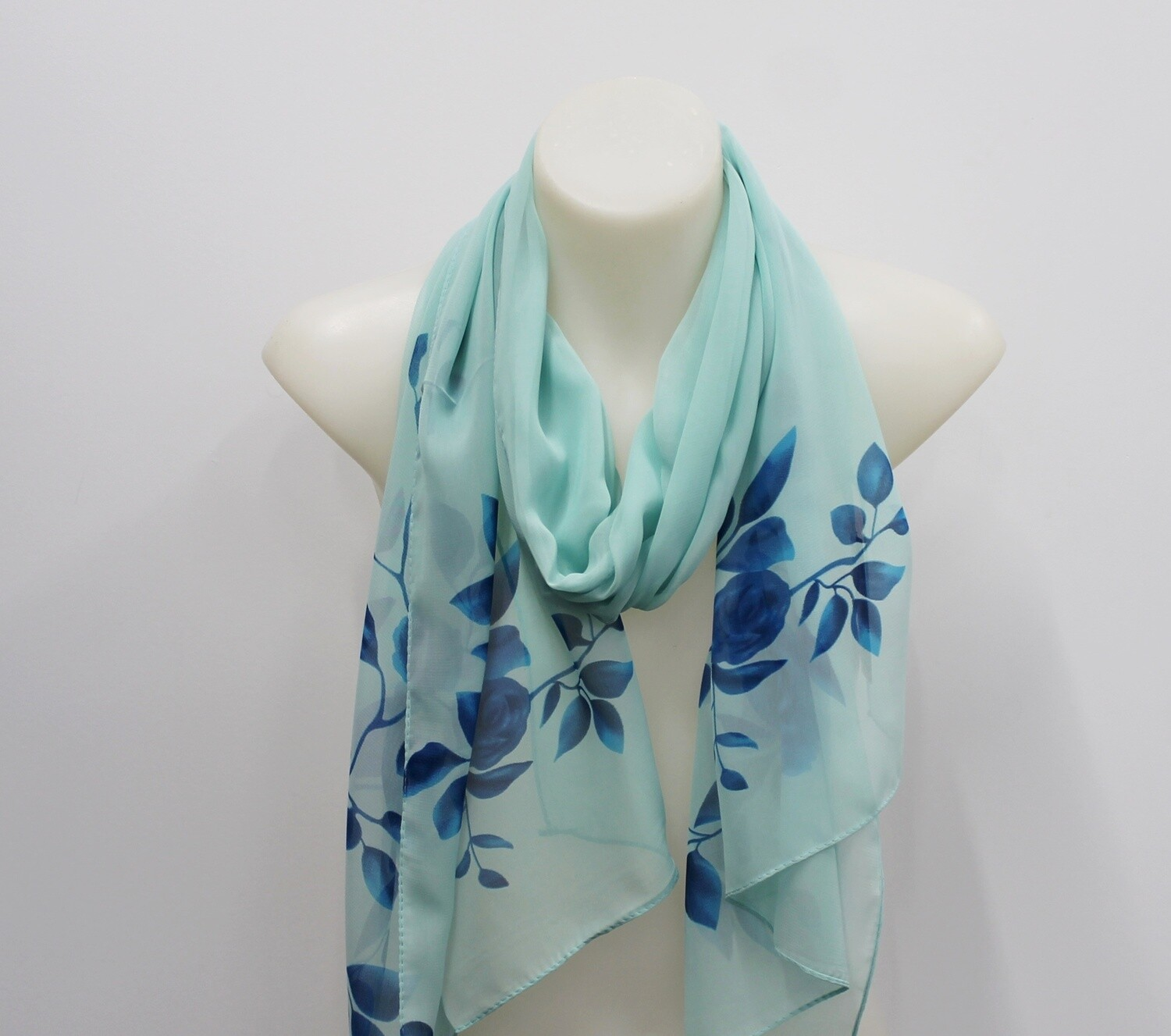 Mint Scarf with Flowers