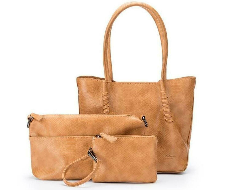 Audrey Mini 3 Piece Handbag - Tan
