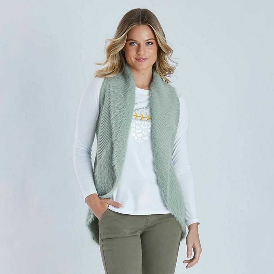 Light Khaki Faux Fur Vest