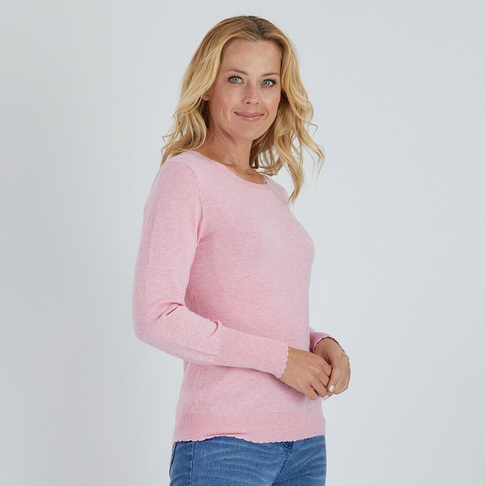 Scalloped Crew Neck Knit Top