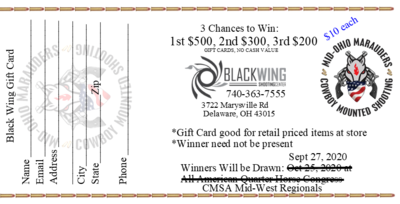 Black Wing Gift Card Raffle Ticket