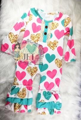 Cheetah Hearts Romper