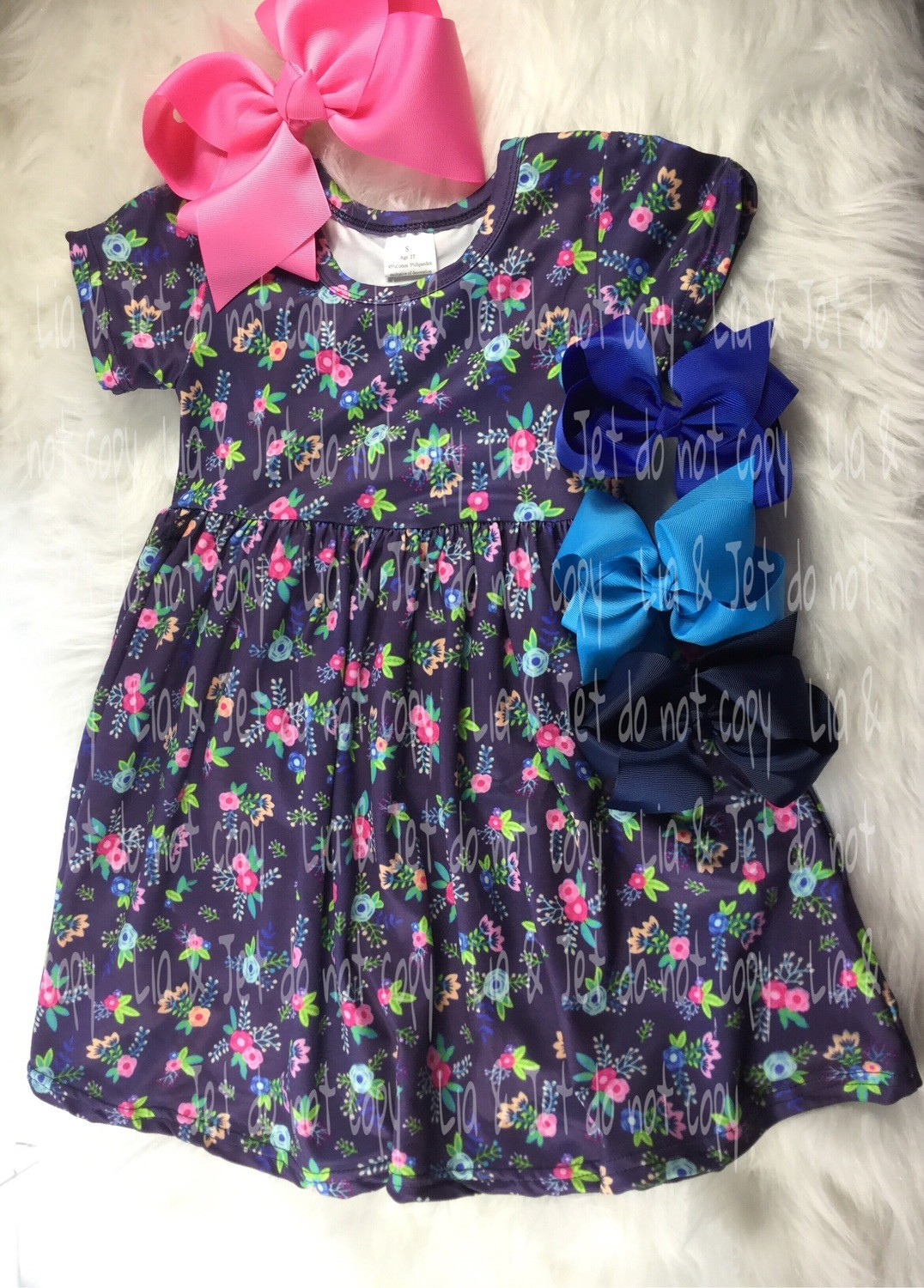 Floral Heart-Navy