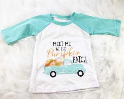 Pumpkin patch Raglan- Aqua