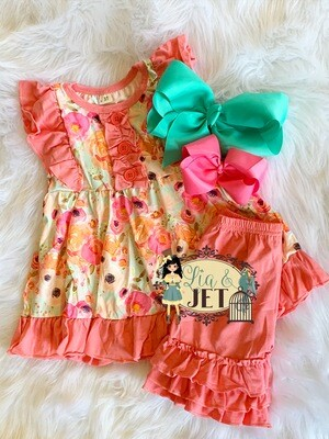 Floral in Coral Set