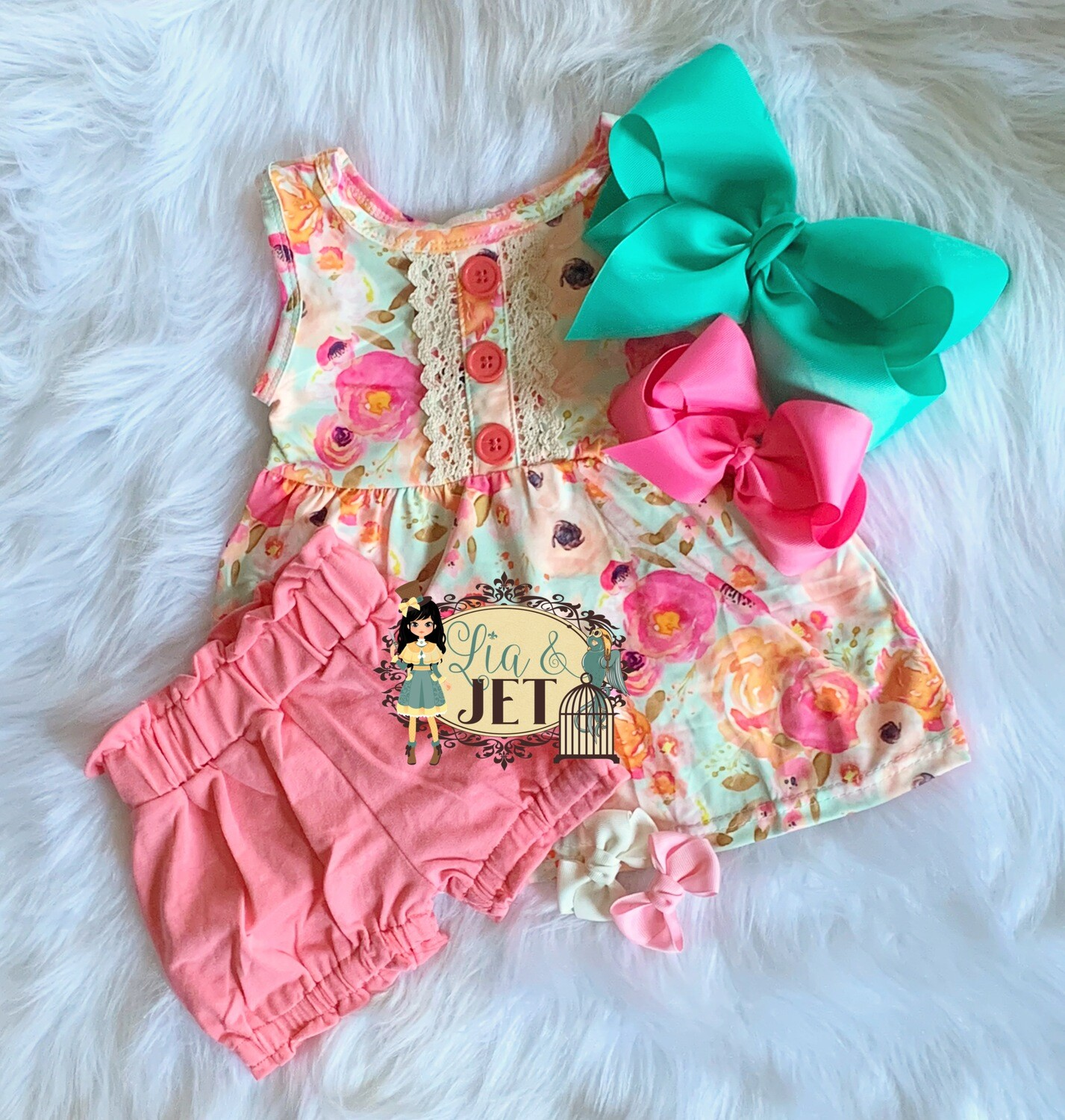 Coral Floral Bloomer Set