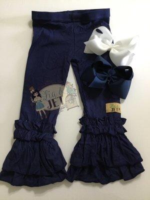 Ellie L&J  Denim Knit Ruffle Leggings