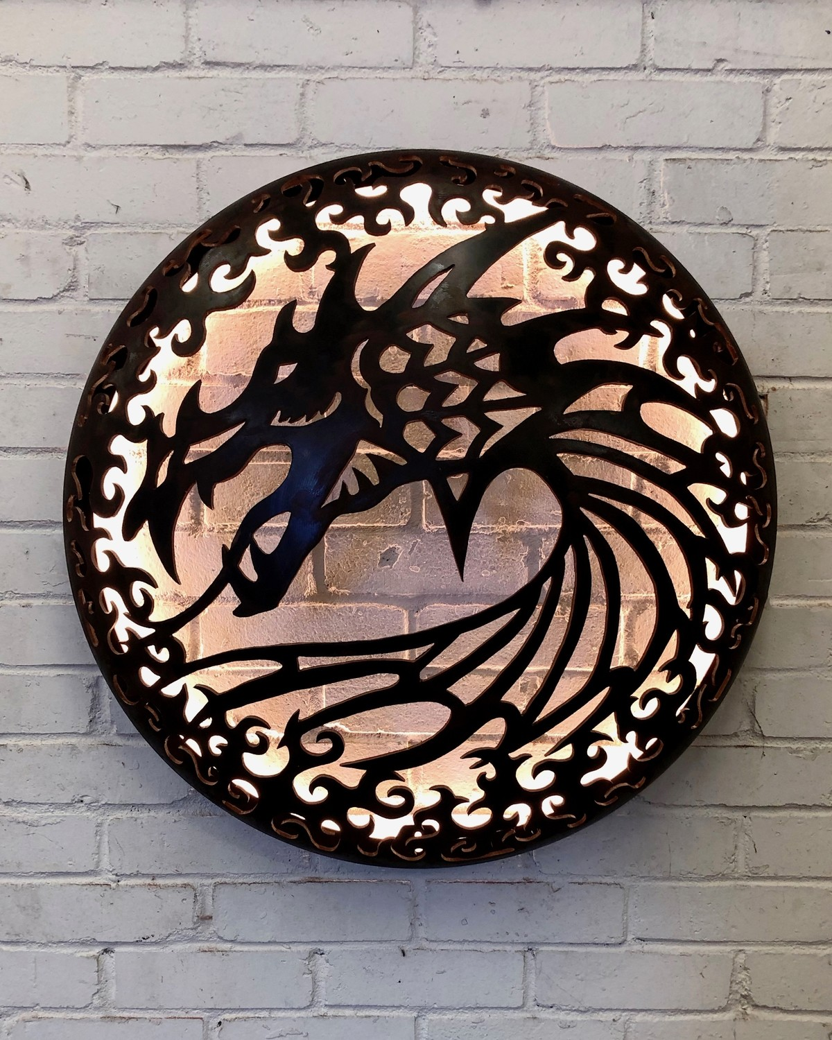 Illuminated Wall Mount - Dragon Design 725mm