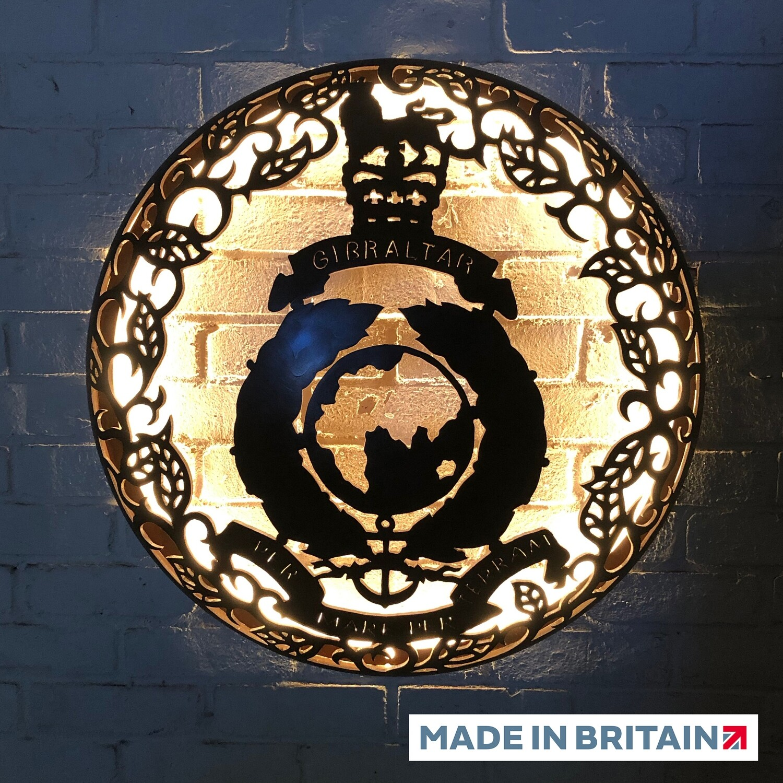 Illuminated Wall Mount - Royal Marines Globe & Laurel 725mm