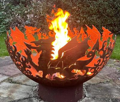 900mm Welsh Dragon Firepit Bowl