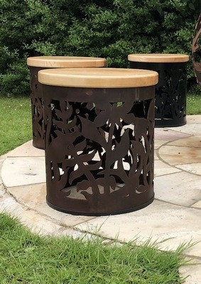 Carved Stool - Wildflower Design