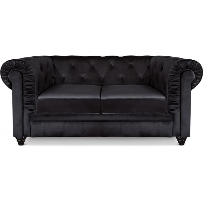 Sofa Chester Vellut Negre 2 places