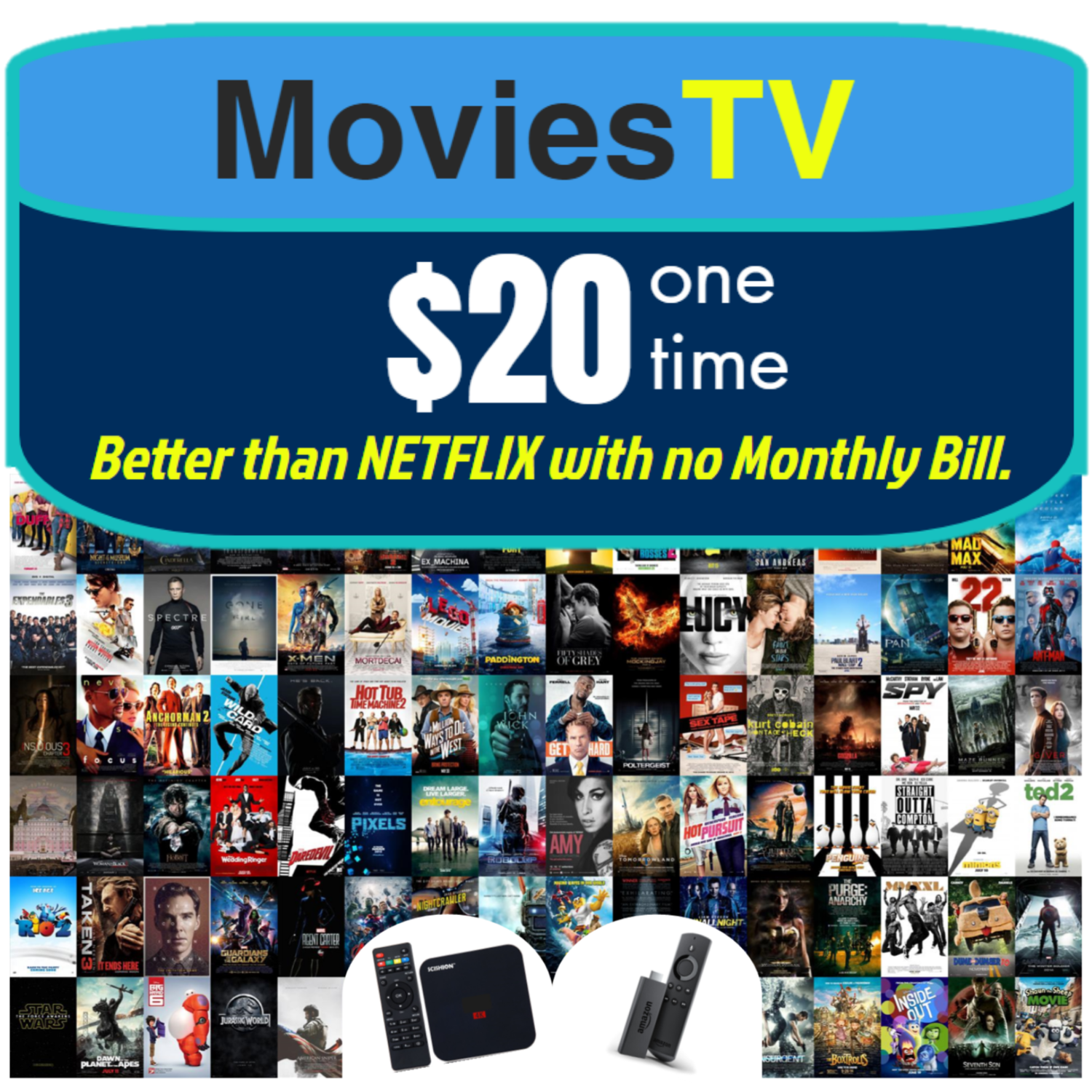 MoviesTV Package - FOR FIRE STICKS & ANDROID BOXES. (INCLUDED WITH ANDROID BOX PURCHASE) Watch Unlimited Movies and TV Shows. NO MONTHLY BILL. Allows you to Update it!