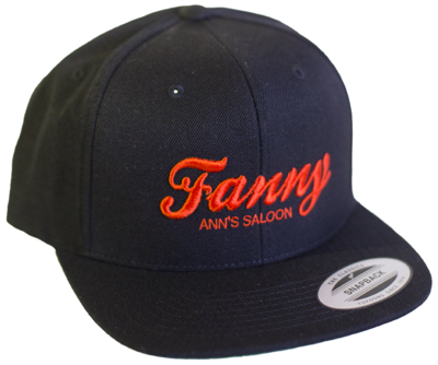 Orange Embroidered Black Hat