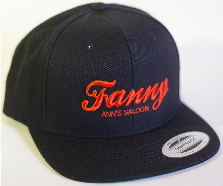 Orange Embroidered Black Hat