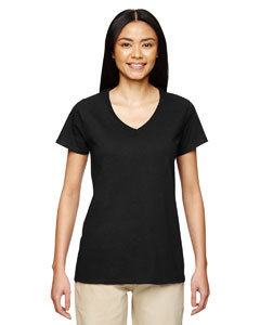 Womans Gildan v neck tshirt with logo on front and back