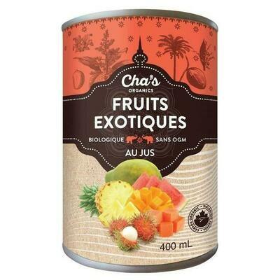 Lot de 3 cannes de Cha's - fruit exotique en morceaux jus bio 400ml