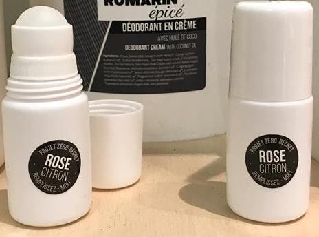 Rose Citron - Tube déodorant en plastique vide réutilisable