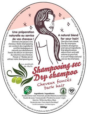 Les produits de MaYa - Shampooing sec pour cheveux foncés enveloppe compostable