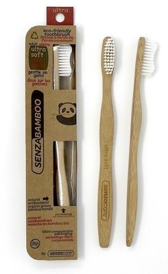 Senzacare - Brosse à dent bambou ultra souple pour adulte biodégradable