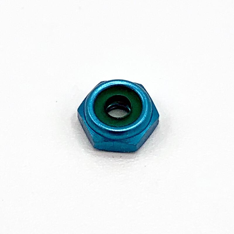 4-40 Hex Low Profile Lock Nut Aluminum - Blue