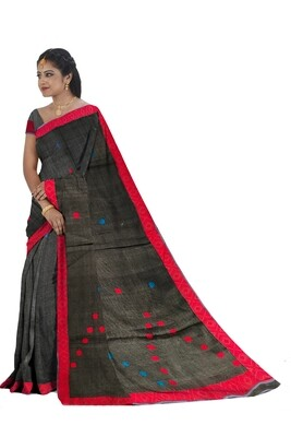 Ready To Wear Buwa Mekhela Chador in deep gray colour with red & blue buti and pari