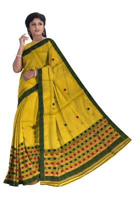 Beautiful Buwa Mekhela Chador in lemon yellow colour (Ready To Wear)