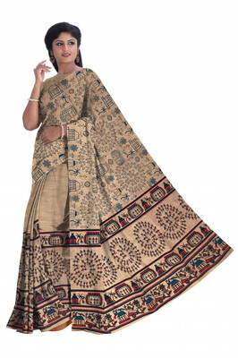 Ready To Wear Handloom Cotton Mekhela Chador with Hand printed Design