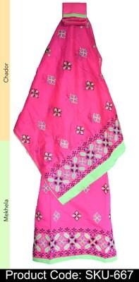 Ready To Wear Mekhela chador with Kashmiri thread work