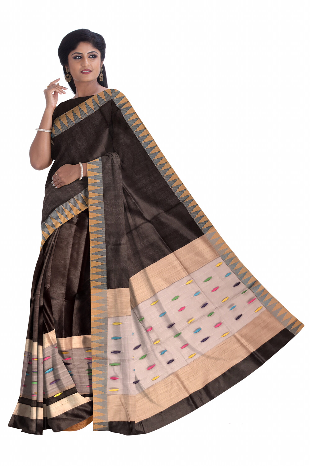 Ready To Wear Temple Design Mekhela Sador in Art Ghisa Silk