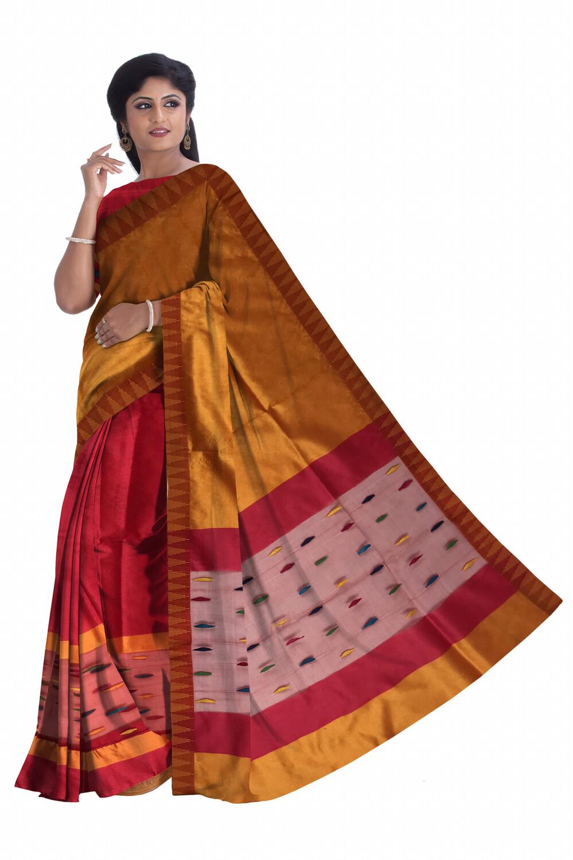 Ready To Wear Temple Design Mekhela Sador in Art Ghisa Silk