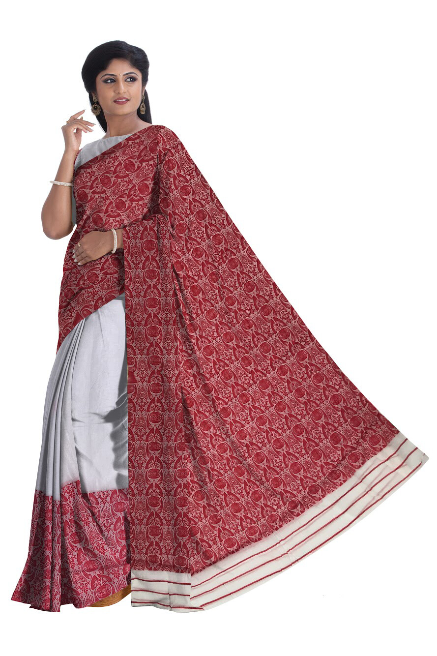 Ready To Wear Mekhela Chador with Gamusa design -Red