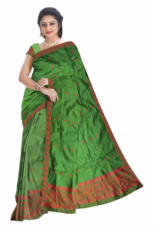 Ghono buti Poly Pat Mekhela Sador (Ready to wear)