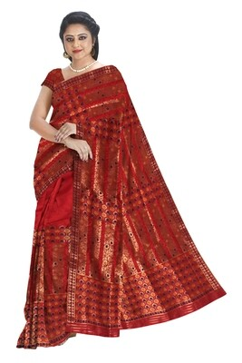 All over work Poly Pat Mekhela Chador(Ready to wear)